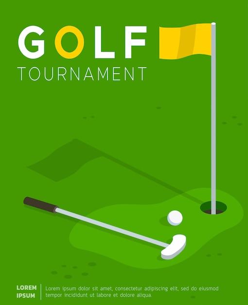 Modèle plat pour affiche de promotion pour tournoi de golf Vecteur gratuit