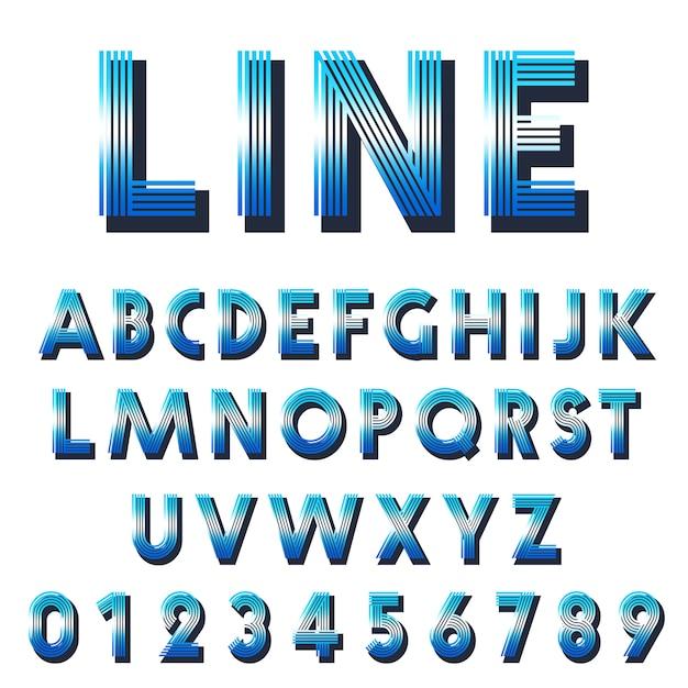 Modèle de police rétro. ensemble de conception de lignes de lettres et de chiffres. Vecteur Premium
