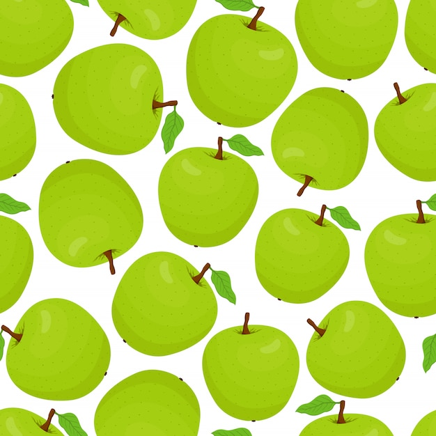 Modèle Avec Des Pommes Vertes Vecteur Premium