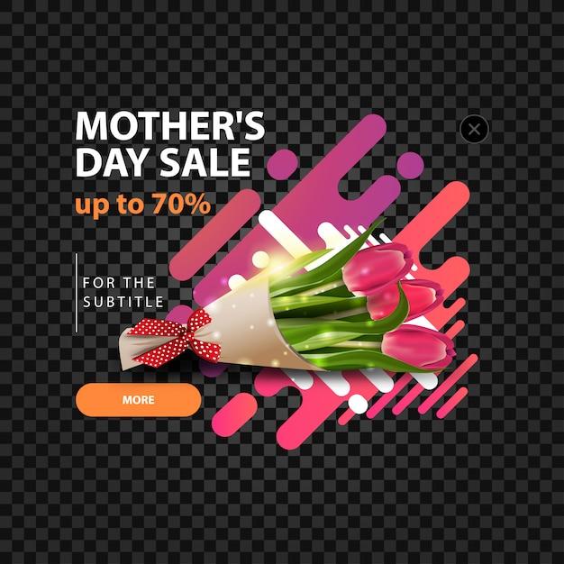 Un modèle de pop-up pour un site avec une réduction en l'honneur de la fête des mères Vecteur Premium