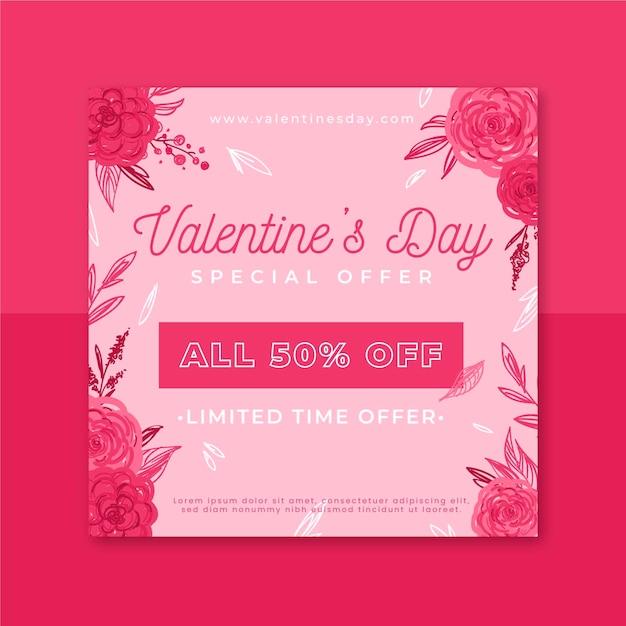 Modèle De Post Instagram Floral Saint Valentin Vecteur gratuit