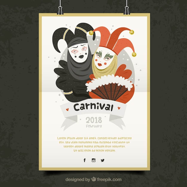 Modèle de poster suspendu blanc pour le carnaval Vecteur gratuit