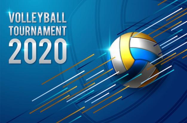 Modèle de poster de tournoi de volleyball Vecteur Premium