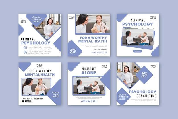 Modèle De Posts Instagram De Psychologie Clinique Vecteur gratuit