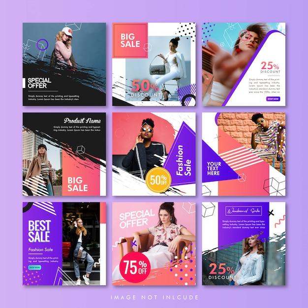 Modèle De Poteau Ou De Bannière De Média Social Pack Sale Fashion Vecteur Premium