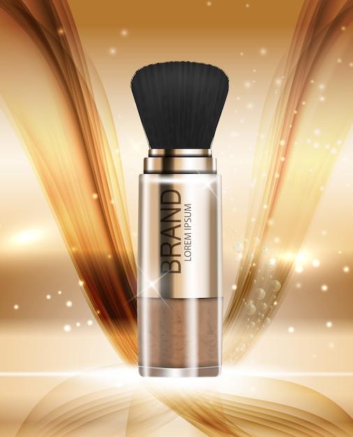 Modèle de poudre de produit design cosmetics pour annonces ou arrière-plan de magazine Vecteur Premium