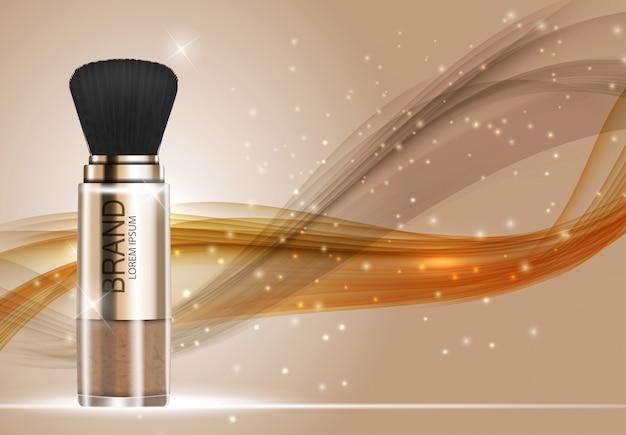 Modèle de poudre de produit design cosmetics pour fond d'annonces. illustration vectorielle réaliste 3d Vecteur Premium