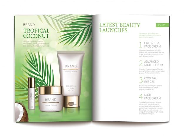 Modèle pour magazine cosmétique brillant. Vecteur gratuit