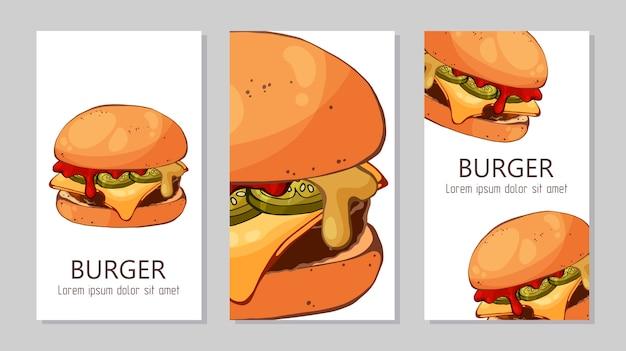 Modèle pour la publicité des hamburgers de différentes recettes. Vecteur Premium