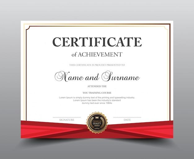 Modèle de présentation du certificat. Vecteur Premium