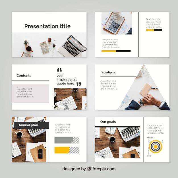 Modèle de présentation d'entreprise avec photo Vecteur gratuit