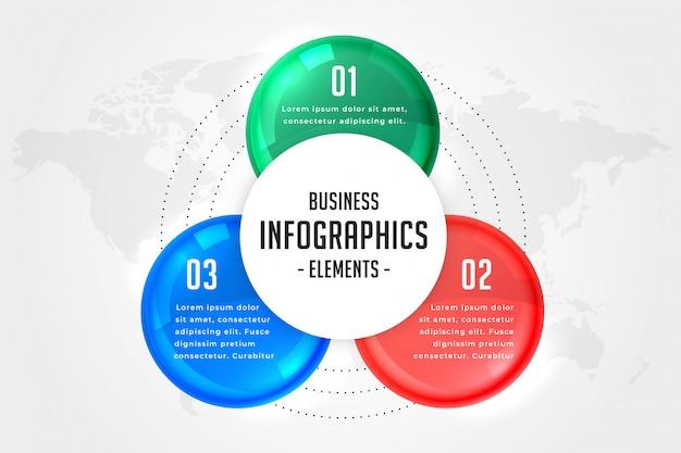 Modèle de présentation infographie en trois étapes Vecteur gratuit