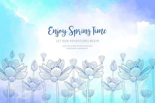 Modèle de printemps aquarelle Vecteur gratuit