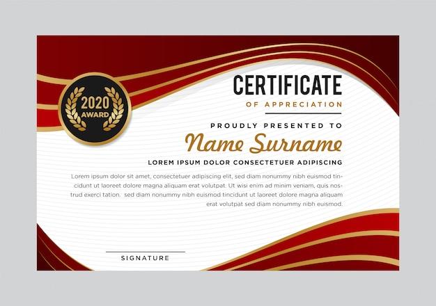 Modèle De Prix D'appréciation De Certificat Abstrait De Luxe Créatif. Design Moderne. Couleurs Rouges Et Dorées Vecteur Premium