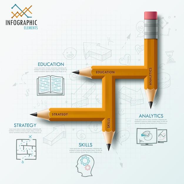 Modèle de processus d'infographie moderne avec un crayon inhabituel Vecteur Premium