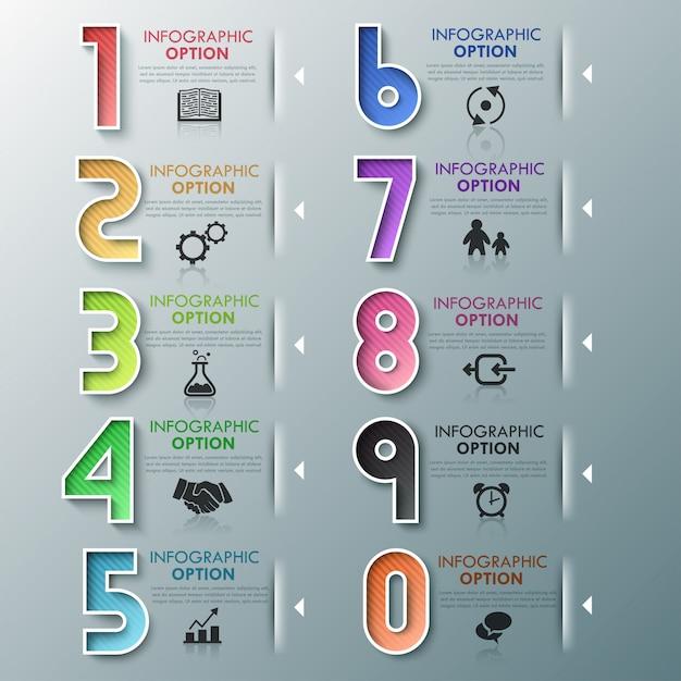 Modèle de processus d'infographie moderne avec des nombres Vecteur Premium