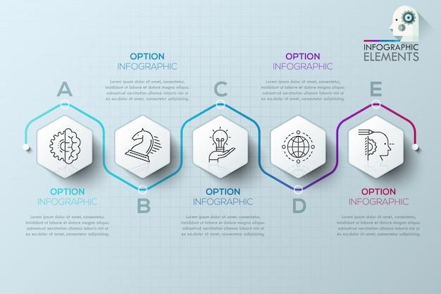 Modèle de processus d'infographie moderne avec des polygones en papier pour 5 étapes Vecteur Premium