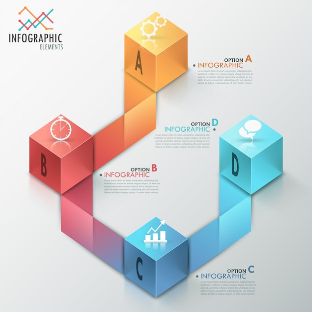 Modèle de processus d'infographie moderne Vecteur Premium