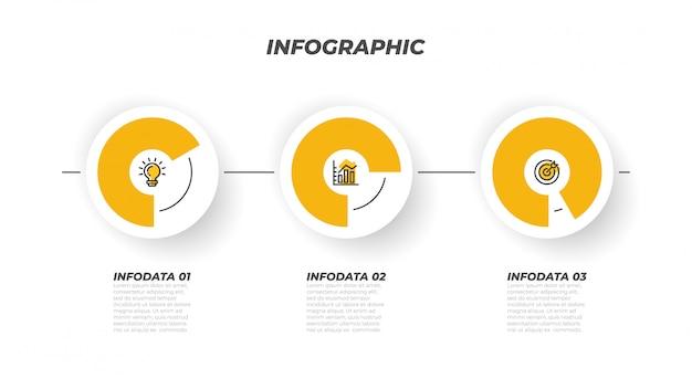 Modèle de processus infographique de présentations et 3 options, étapes, cercle. éléments de design créatif de vecteur. peut être utilisé pour la mise en page de flux de travail, la carte d'informations, la conception web. Vecteur Premium
