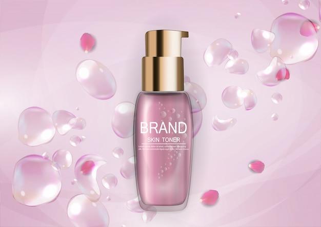 Modèle de produit design cosmetics pour annonces ou arrière-plan de magazine Vecteur Premium
