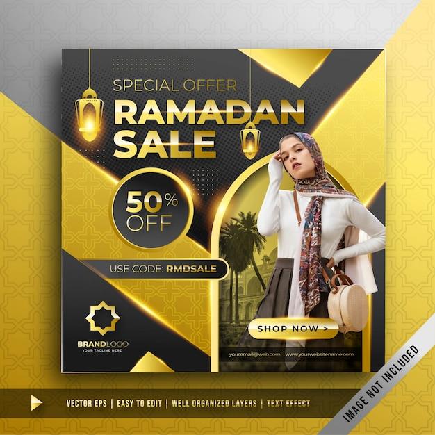 Modèle De Promotion De Bannière De Vente De Luxe Ramadan D'or Carré Vecteur gratuit
