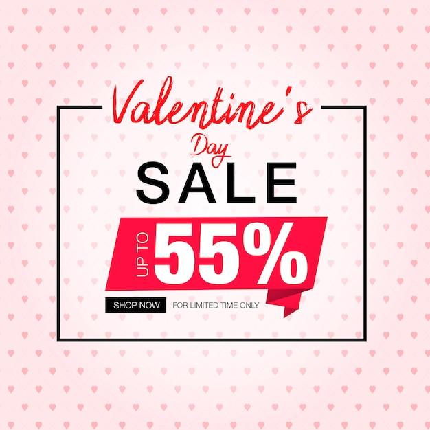 Modèle De Promotion De Bannière De Vente Saint Valentin Vecteur Premium