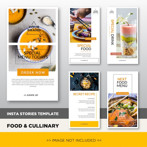 Modèle De Promotion Histoires Instagram Culinaires Et Culinaires Avec Image Placeholder. Conception élégante De Bannière Pour La Promotion Des Médias Sociaux. Vecteur Premium