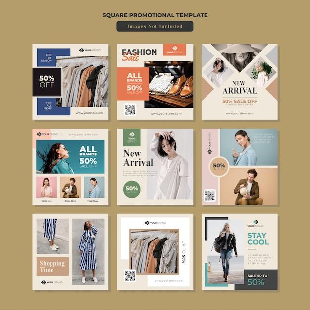 Modèle promotionnel fashion social media square Vecteur Premium