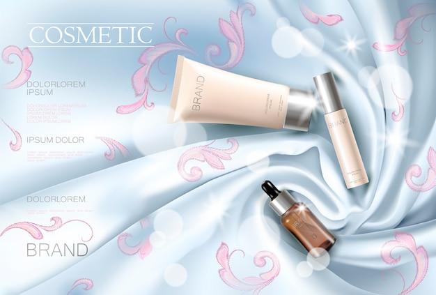 Modèle promotionnel de maquillage cosmétique pour le visage d'une femme cosmétique en soie à broder Vecteur Premium