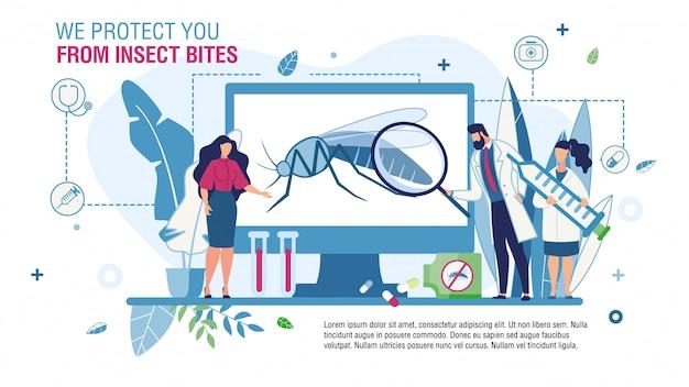 Modèle De Protection Contre Les Piqûres D'insectes Vecteur Premium
