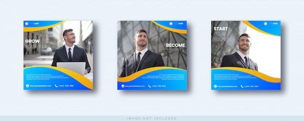 Modèle De Publication Et De Bannière Instagram De Croissance Commerciale Vecteur Premium