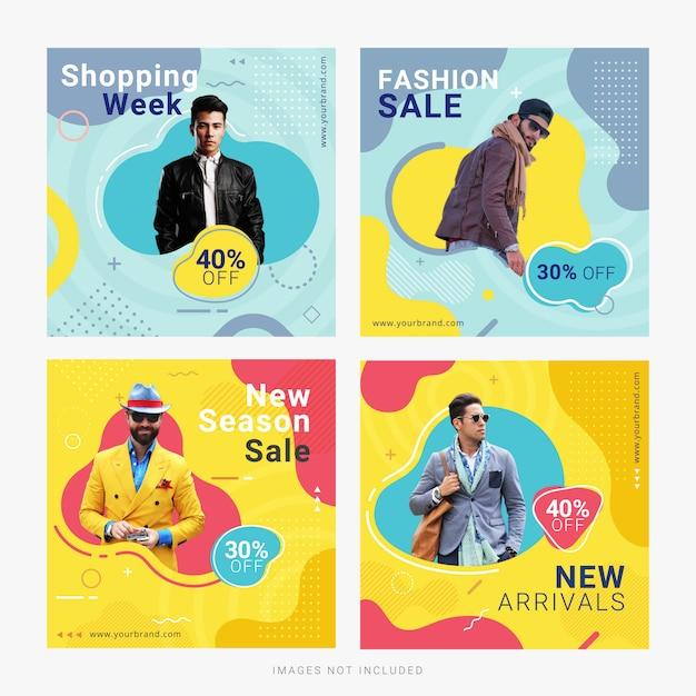 Modèle de publication de bannière publicitaire de mode vente médias sociaux Vecteur Premium