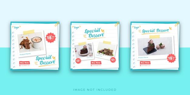 Modèle De Publication De Dessert Sur Instagram Vecteur Premium