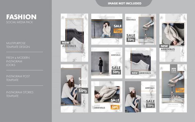 Modèle de publication de flux d'articles de mode instagram Vecteur Premium