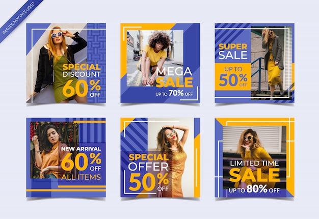 Modèle de publication instagram ou ensemble de bannière carrée, vente de mode Vecteur Premium