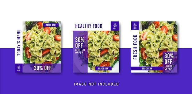 Modèle De Publication Instagram De Médias Sociaux D'aliments Sains Dans Un Style De Couleur Violette Vecteur Premium