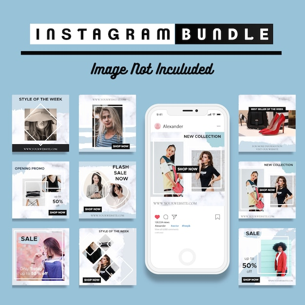 Modèle de publication instagram pour réduction créative Vecteur Premium