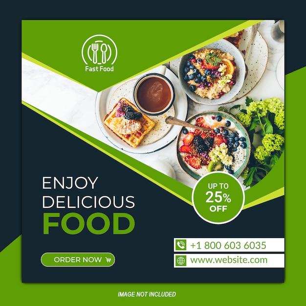 Modèle de publication de médias sociaux alimentaires sur le nouveau menu Vecteur Premium