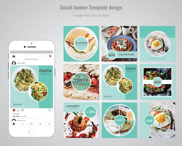 Modèle de publication de médias sociaux alimentaires pour restaurant Vecteur Premium