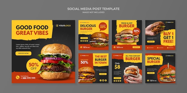 Modèle De Publication De Médias Sociaux Burger Pour Restaurant De Restauration Rapide Et Café Vecteur Premium