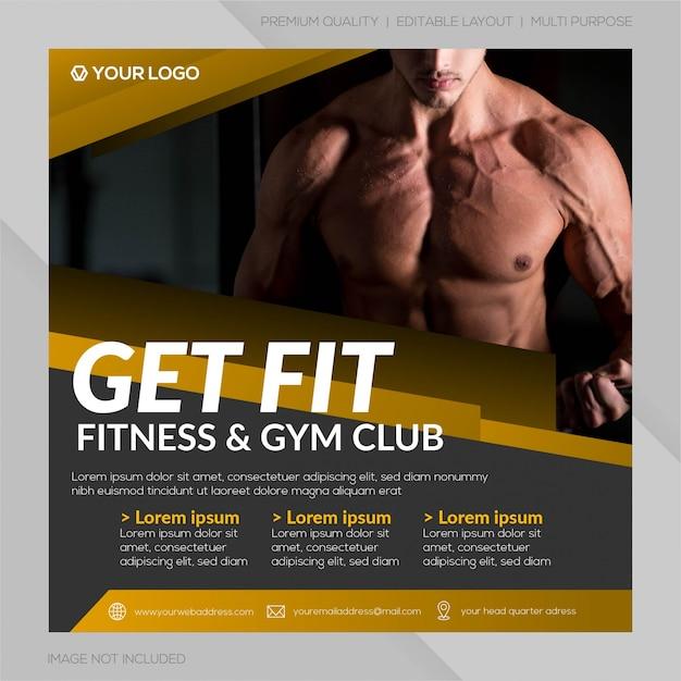 Modèle de publication sur les médias sociaux du club de gym Vecteur Premium