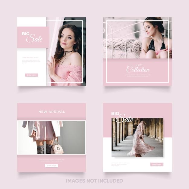 Modèle De Publication De Médias Sociaux Féminins Avec Couleur Rose Vecteur Premium