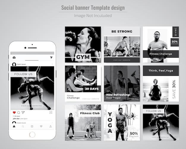 Modèle De Publication De Médias Sociaux Gym, Gymnesium & Yoga Vecteur Premium