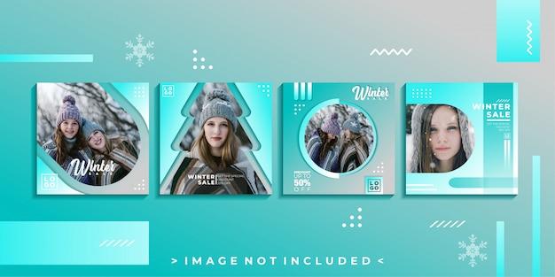 Modèle de publication de médias sociaux d'hiver Vecteur Premium