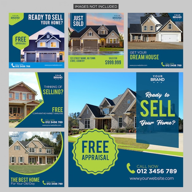 Modèle de publication sur les médias sociaux de l'immobilier premium Vecteur Premium