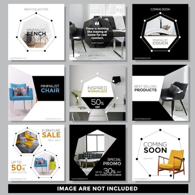 Modèle de publication de médias sociaux de meubles Vecteur Premium
