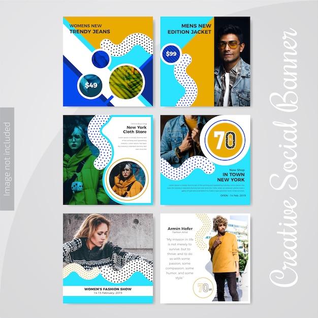Modèle de publication de médias sociaux de mode pour le marketing Vecteur Premium