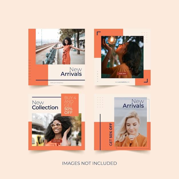 Modèle De Publication De Médias Sociaux à La Mode Pour La Publicité De Produits De Mode Vecteur Premium