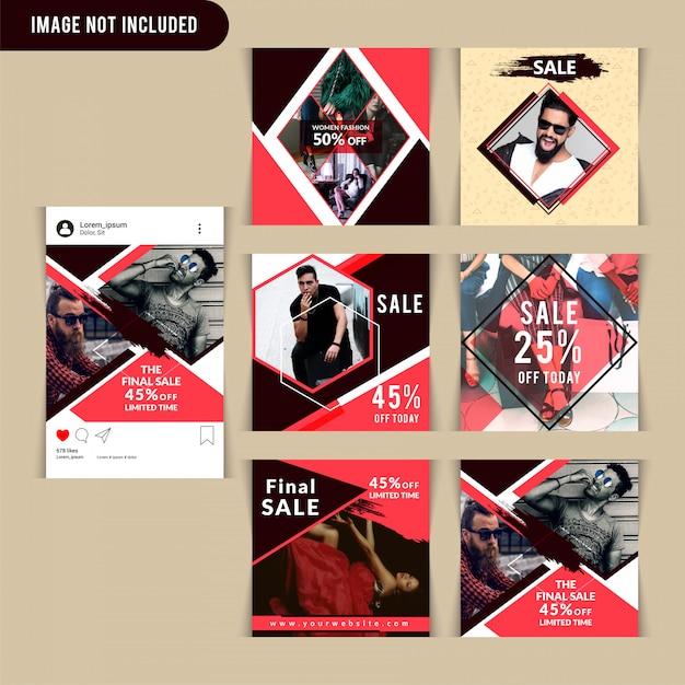 Modèle de publication de médias sociaux mode rouge Vecteur Premium