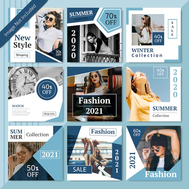 Modèle de publication de médias sociaux de mode Vecteur Premium
